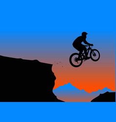 silhouette of a biker jumping from mountain ledge vector image vector image