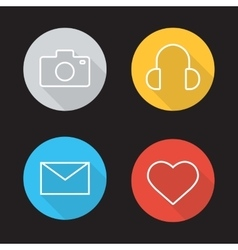 Social media flat linear icons set vector image vector image