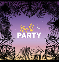 Vintage night beach party vector