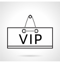 Vip plate black line icon vector