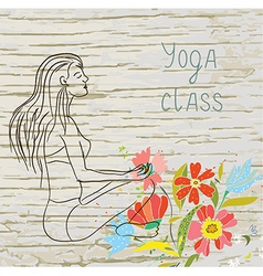 Yoga class background with woman and floral vector image