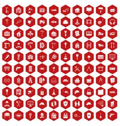 100 construction icons hexagon red vector