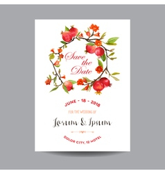Wedding card tropical flowers and pomegranates vector