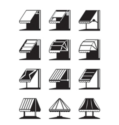 Folding awnings and canopies of buildings vector