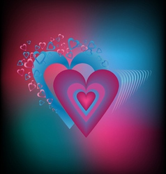 Saturated colorful background with hearts vector