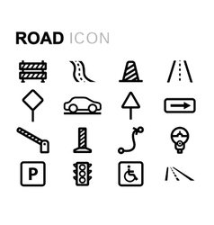 Line road icons set vector