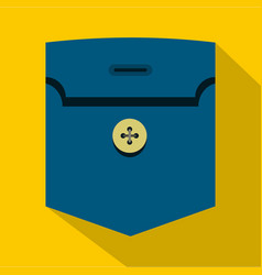 Pocket with button icon flat style vector