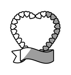 romantic heart label ribbon decoration vector image