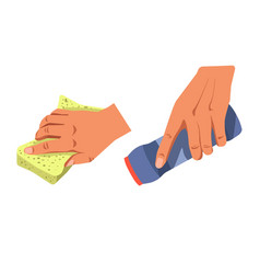 Hands with cleaning supplement vector