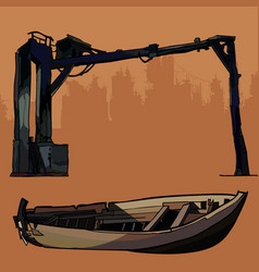 Old industrial design metal and broken wooden boat vector