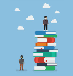 Failure man and success man on a lot of books vector