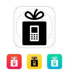 Gift phone icon vector