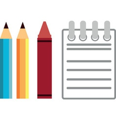 Pencil crayon notebook vector