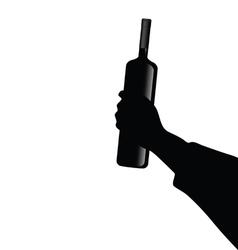 bottle of wine in hand vector image