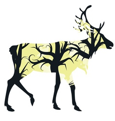 Stag silhouette with forest3 vector