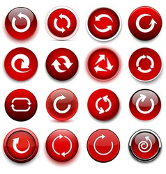 Round red arrow icons vector