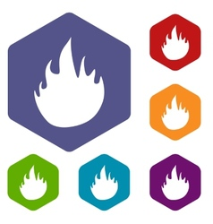Fire rhombus icons vector
