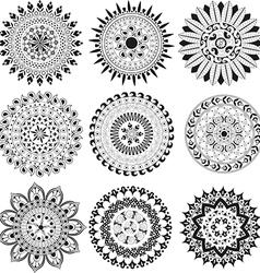 Big set of black and white mandala vector image