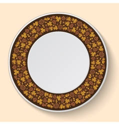Decorative plate template with brown clover vector