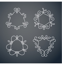 Set of outline monogram 03 vector image