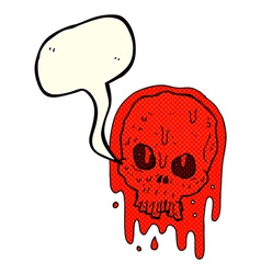 Cartoon bloody skull with speech bubble vector