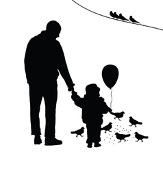 Child with dad silhouette vector