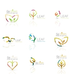 Linear leaf abstract logo set connected vector