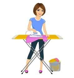 Woman ironing clothes housework vector