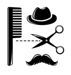 Barbershop vintage icons vector image
