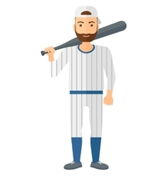 Baseball player standing with bat vector image vector image