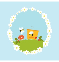 Cartoon beehive flowers mushroom strawberry vector image