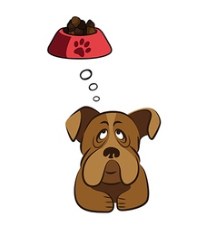 Cute dog thinking about food vector image vector image