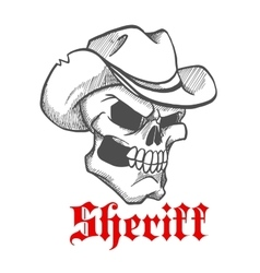 Dangerous skull sheriff in cowboy hat sketch vector