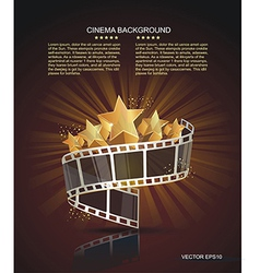 Film strip roll with gold stars cinema background vector image vector image