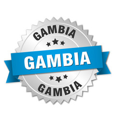 Gambia round silver badge with blue ribbon vector