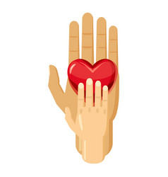 hand of adult and kid with red heart icon vector image