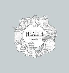 Healthy lifestyle vintage sketch vector