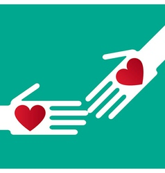 Helping hand whit hearts vector image