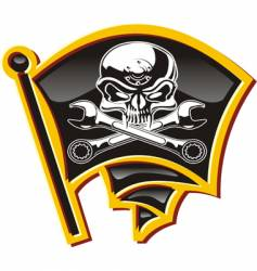Jolly Roger badge vector image vector image