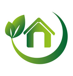 Leaves with branch rounded around the eco home vector