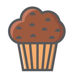 muffin filled outline icon food and drink vector image