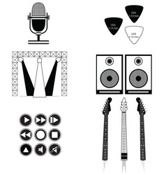 Music players and components vol 2 in black-white vector image