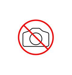 no camera line icon prohibition sign forbidden vector image vector image