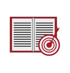Open book and bullseye icon vector