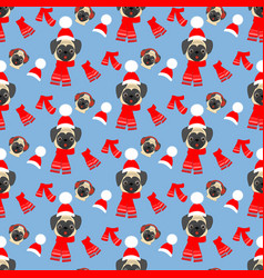 Pug in hat pattern vector
