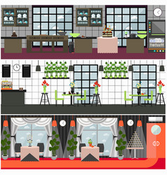 Restaurant and cafe interior set in flat vector