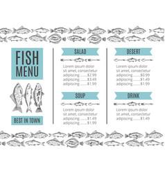 Seafood for restaurant menu vector