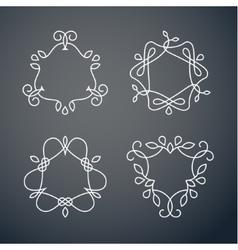 Set of outline monogram 03 vector image vector image