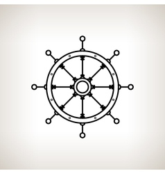 Silhouette ships wheel on a light background vector