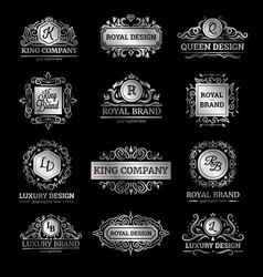 Silver luxury labels set vector